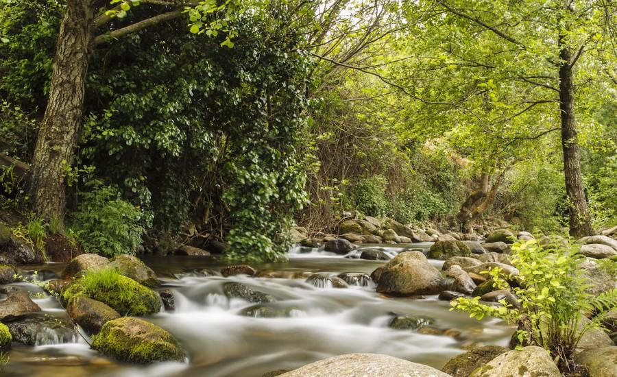 Río Ambroz a su paso por la población de Hervás