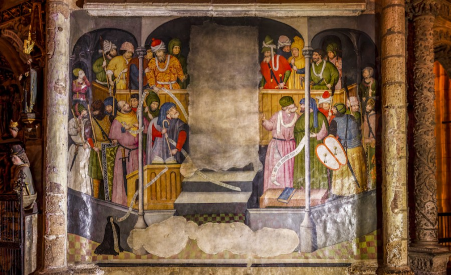 Panorámica del fresco de Nicolás Francés. Ecce Homo. Catedral de León