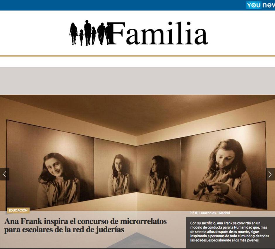 """Portada del suplemento """"Familia"""" del diario La Razón   Concurso de microrrelatos Ana Frank   Red de Juderías de España - Caminos de Sefarad"""