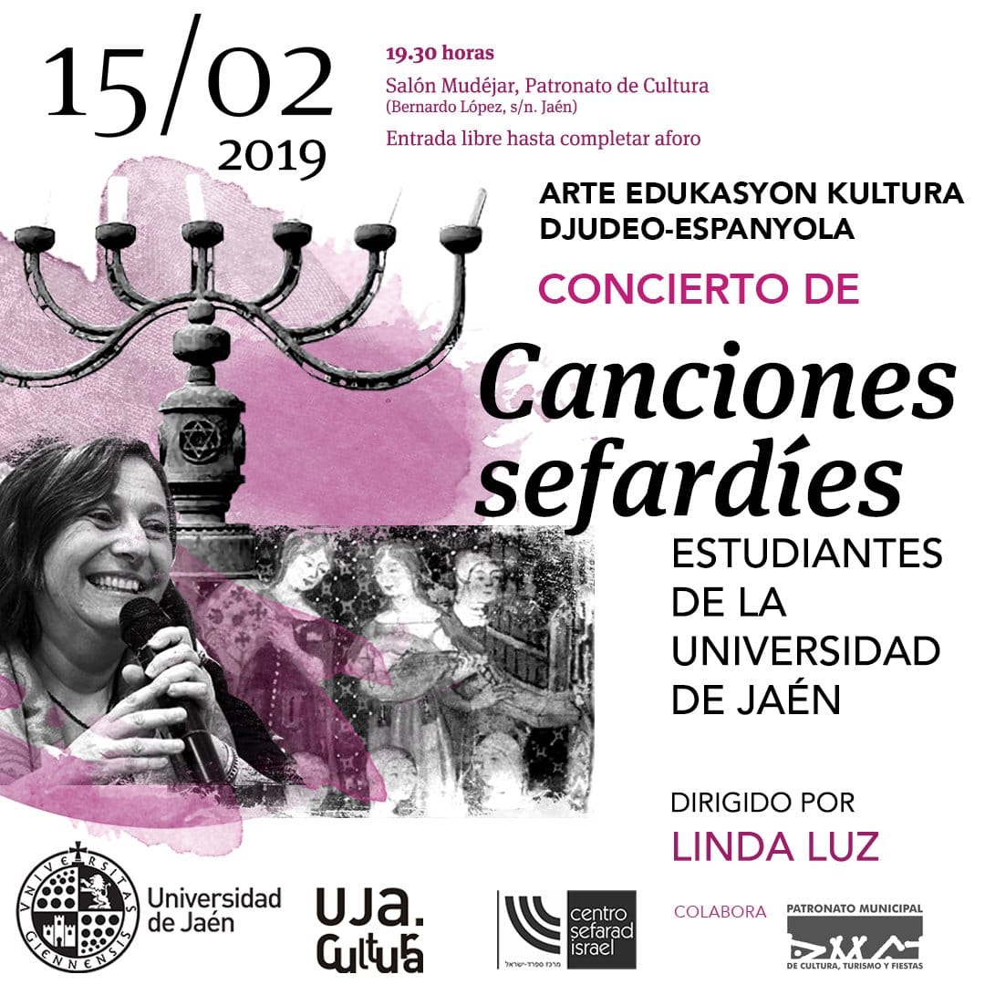 El próximo 15 de febrero, tendrá lugar en Jaén un concierto de canciones sefardíes, animado por Linda Luz, con la participación de estudiantes de la Universidad